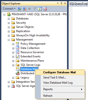 an e mail to the manager about the position of database developer Database mail has two configuration objects: the database configuration objects provide a way for you to configure the settings that database mail should use when sending an email from a bit column indicating whether the connection to the smtp mail server is made using secure sockets layer (ssl.
